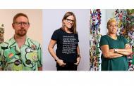 collage of headshots of Aaron McIntosh, Marie Watt, and Ebony Patterson