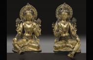 Two Taras 18th century Nepalese sculptures