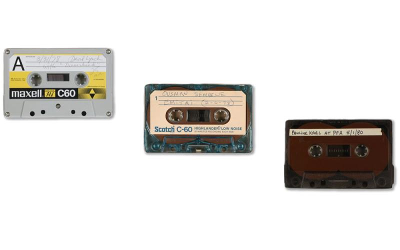Audio cassette tapes with labels featuring speakers David Lynch, Ousmane Sembene, and Pauline Kael