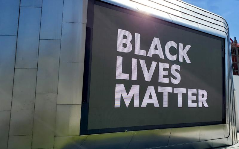Black Lives Matter appears on the outdoor screen of BAMPFA