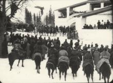 still of crowd on horseback from Yuri Tarich's film Wings of a Serf