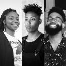 Headshots of members of the collective, The Black Aesthetic. From left: Ra Malika Imhotep, Leila Weefur, and Jamal Batts.