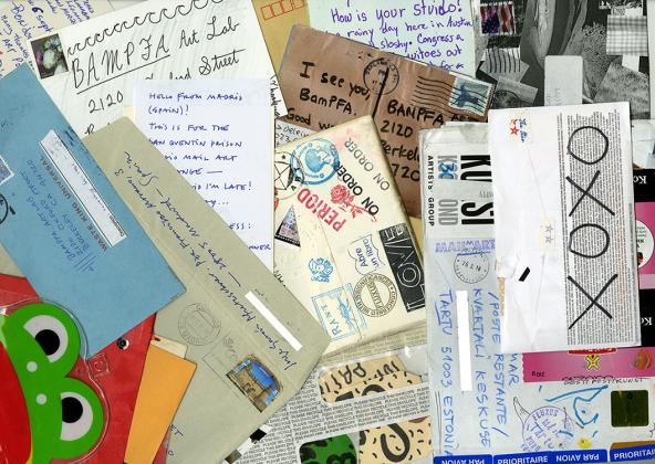 Mail art sent to BAMPFA Art Lab from across the globe