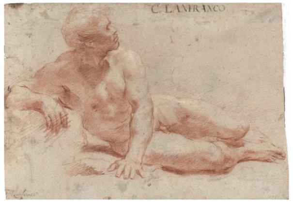 Reclining male nude drawing