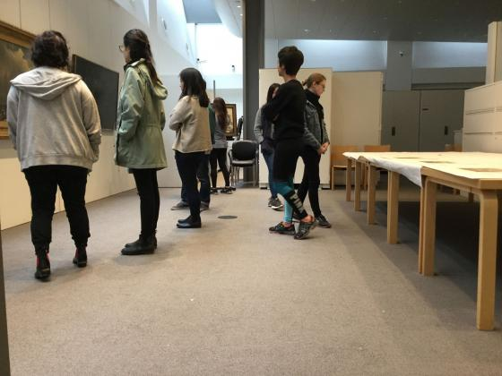 Visitors in the BAMPFA art study center