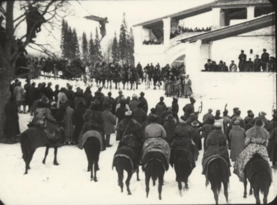 still of crowd on horseback from Yuri Tarich's film Wings of a Serf