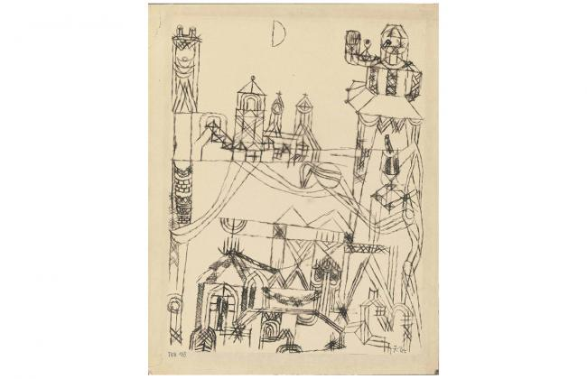 Drawing by Paul Klee of a temple-like structure as an abstract form.