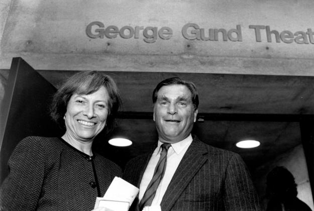 Edith Kramer and George Gund at BAMPFA's theater on Durant Avenue