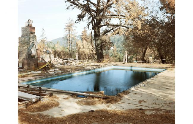 Richard Misrach: Untitled (OF 104-91: Swimming Pool), from 1991: The Oakland-Berkeley Fire Aftermath, 1991; archival pigment print; 59 1/2 x 75 in.; BAMPFA, gift of the artist.