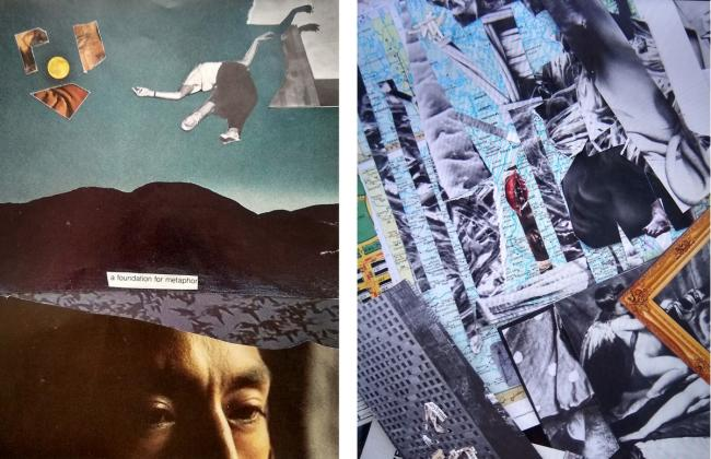 Two collages representing visual poetry.