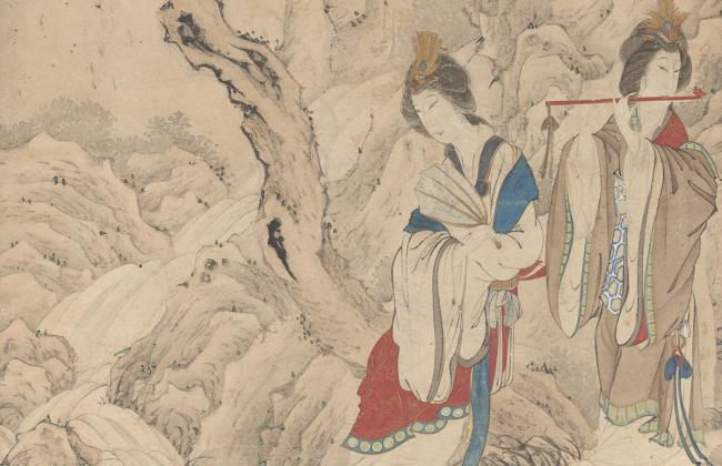 Sakaki Hyakusen: Two Ladies by a Stream, 18th century (detail);